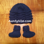 Feather Fan Beanie_Bootie_Pack NAVYBLUE - Small