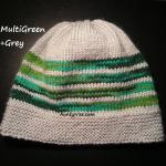 8ply StockinetteSt Hat (MultiGreen+Grey) - AuntyNise.com