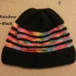 8ply StockinetteSt Hat (Rainbow1+Black) - AuntyNise.com