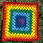 Granny Square Patch- Daytime Rainbow Chakra (RedBorder) - AuntyNise_com