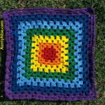 Granny Square Patch- Nighttime Rainbow Chakra (PurpleBorder) - AuntyNise_com
