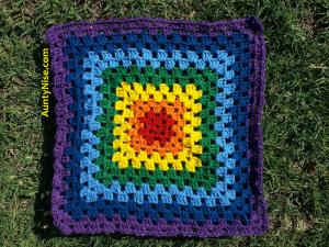 Granny Square Patch- Nighttime Rainbow Chakra (PurpleBorder) - AuntyNise_com