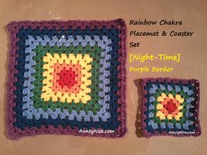 Rainbow Chakra Placemat & Coaster Sets (Purple Night-Time) - AuntyNise_com