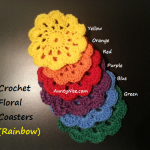 Rainbow Coasters Crochet (6 Rainbow colours) - AuntyNise.com