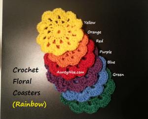 Rainbow Coasters Crochet (6 Rainbow colours) - AuntyNise.com