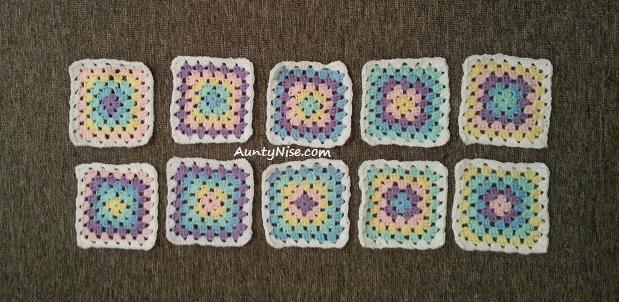 Granny Square Coaster (Rainbow Pastel 10) - AuntyNise.com