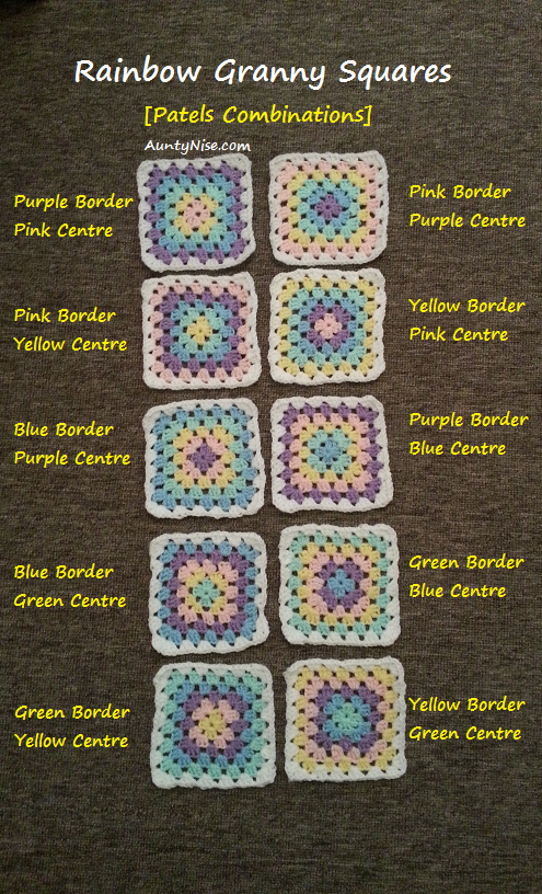 Granny Square Coaster (Rainbow Pastel 10Combinations) - AuntyNise.com