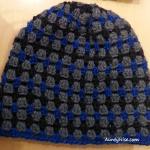 GrannyStitch Beanie (Greys + BLUE) - AuntyNise_com