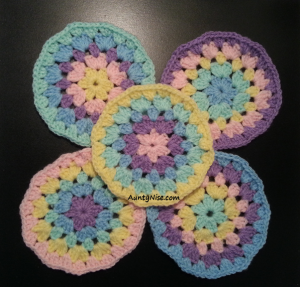 Granny Stitch - Circle Coaster-(Pastels) - AuntyNise.com
