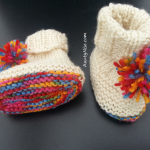 Simple PomPom Booties WHITE-RAINBOW - AuntyNise.com
