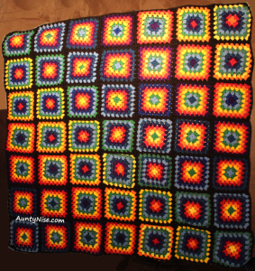 Rainbow Granny Square Blanket COMPLETE -AuntyNise.com