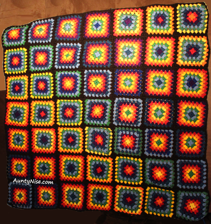 Rainbow Granny Square Blanket Complete Auntynise Com