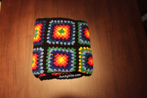 Rainbow Granny Square Blanket - FOLDED-Complete -AuntyNise.com