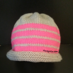 4ply_8Ply Beanie (Grey-Pink Stripes) - AuntyNise.com