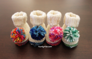 Simple Pom Pom - Booties-4Colours (FRONT) - AuntyNise.com
